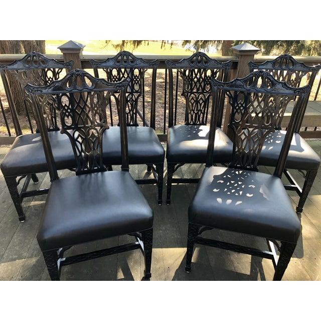 1980s Vintage Chinese Chippendale Pagoda Chairs- Set of 6 For Sale - Image 10 of 11
