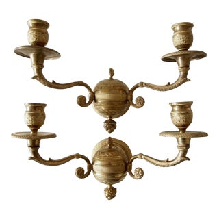 19th Century Gilt Dore Bronze Maison Bagues Paris Neoclassical/ Empire Detailed Sconces - a Pair For Sale