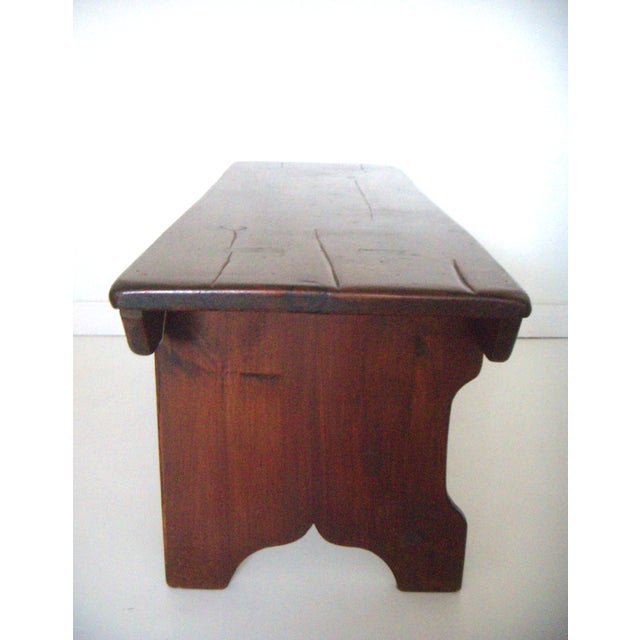 Wood Mid 20th. Century Vintage American Two Seat Brown Pine Wood Bench For Sale - Image 7 of 7