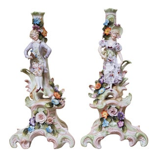 Antique Porcelain German Candle Holders - a Pair For Sale