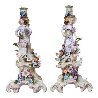 Antique Porcelain German Candle Holders - a Pair For Sale