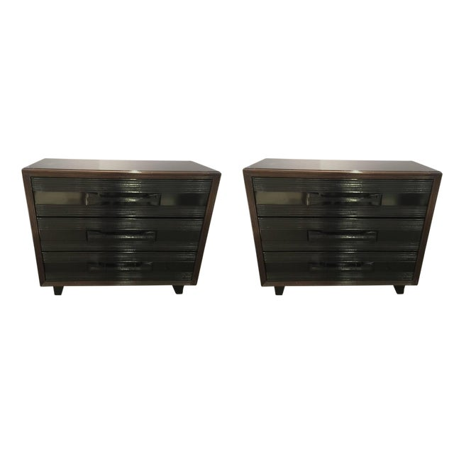 Lacquer Pair of American 1940s Gentlemen's Chest of Drawers For Sale - Image 7 of 7