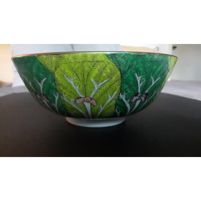 This is a beautiful, vintage porcelain Butterfly and Bok Choy Leaf decorative bowl. A mid-century, hand painted porcelain...