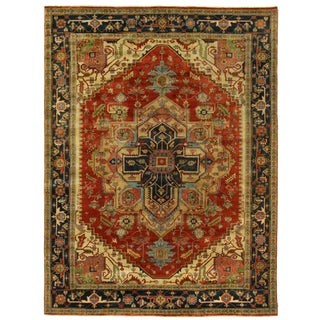 Exquisite Rugs Serapi Hand knotted Wool Red/Black Rug-9'x12' For Sale