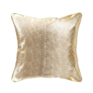 Contemporary Pasargad Vicenza Gold Leather Pillow For Sale