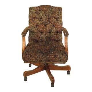 1990s Vintage Ethan Allen Tufted Upholstered Office Desk Chair For Sale