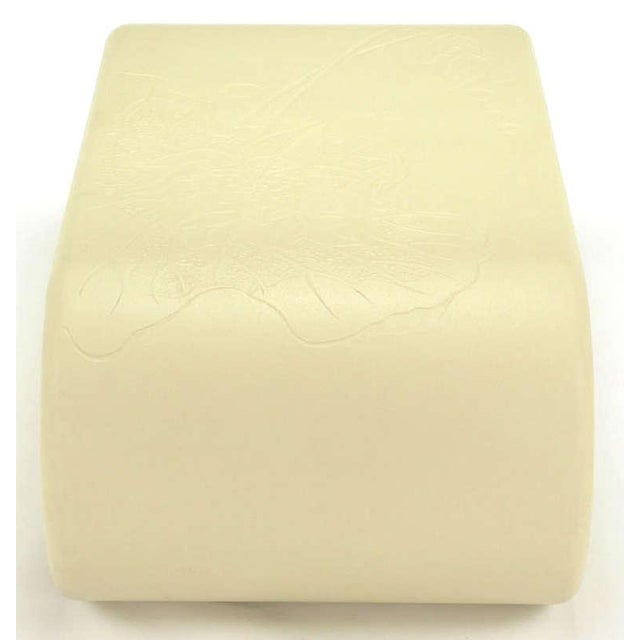 Gesso Bone Lacquer over Resin Scrolled Leg Coffee Table with Embossed Top For Sale - Image 7 of 9