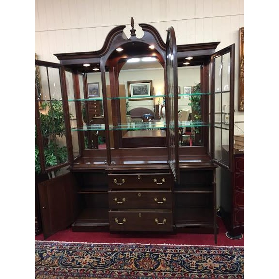 Ethan Allen Ethan Allen Full Bonnet Solid Cherry China Cabinet For Sale - Image 4 of 12