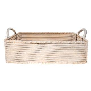 Artifacts Rattan Saboga Collection Rectangular Basket For Sale