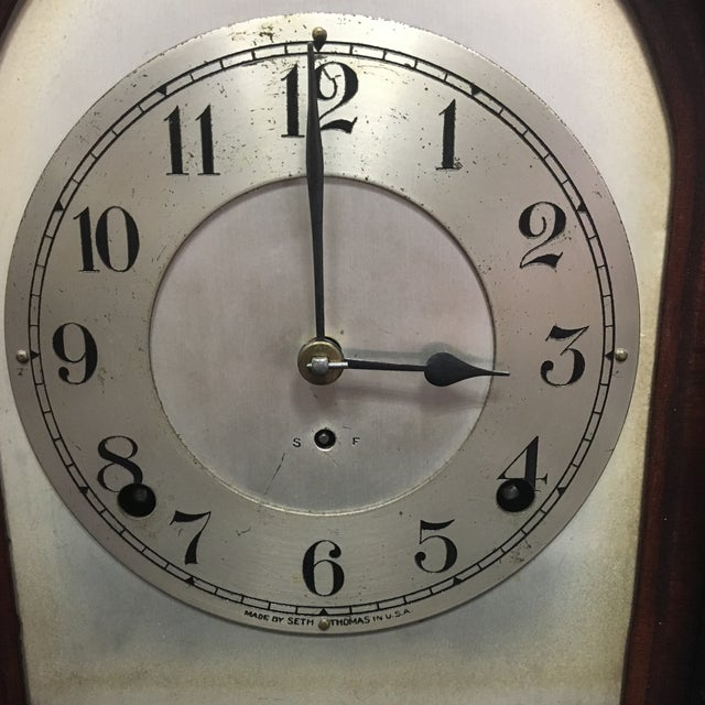 Antique 1910s Seth Thomas Clock Company Wooden Clock For Sale - Image 4 of 13