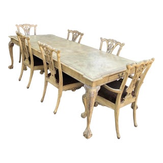 French Country Dining Table and Chairs - 7 Pieces For Sale
