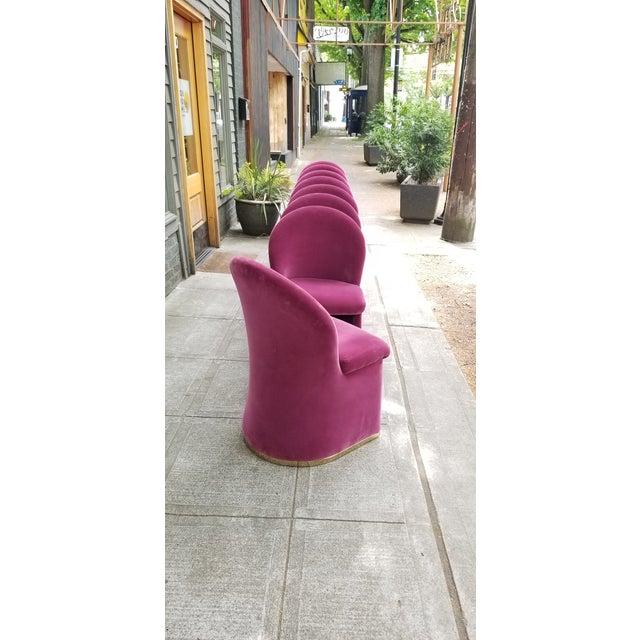 Mid-Century Purple Velvet Dining Chairs - Set of 8 - Image 6 of 8