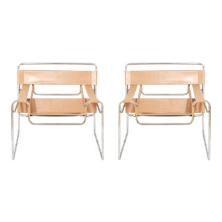 Marcel Breuer Wassily B3 Armchairs in Tan Leather For Sale