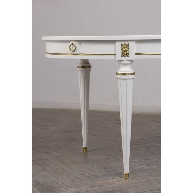 Metal Traditional French Lacquered Louis XVI Style Oval Dining Table For Sale - Image 7 of 10