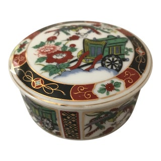Small Round Gilded Ceramic Asian Box