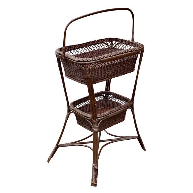 Victorian Vintage Victorian Wicker Rattan Basket Sewing Stand For Sale - Image 3 of 11