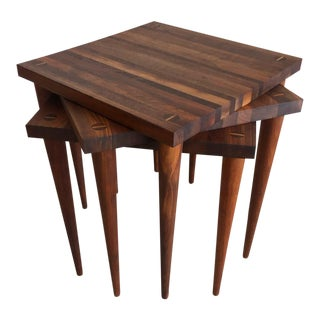 1950s Mid-Century Modern Mel Smilow Solid Walnut Nesting Tables - Set of 3 For Sale