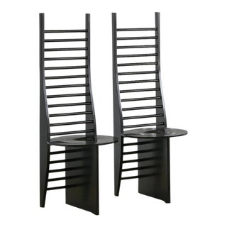 Set of 2 Ladder Back Dining Chairs, France For Sale