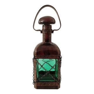 Vintage Italian Brown Leather Decanter For Sale