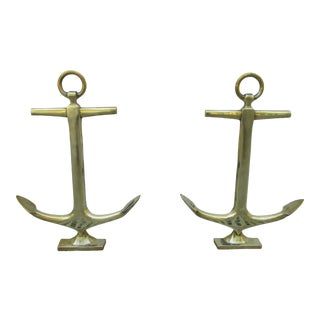 Vintage Brass Anchor Andirons For Sale
