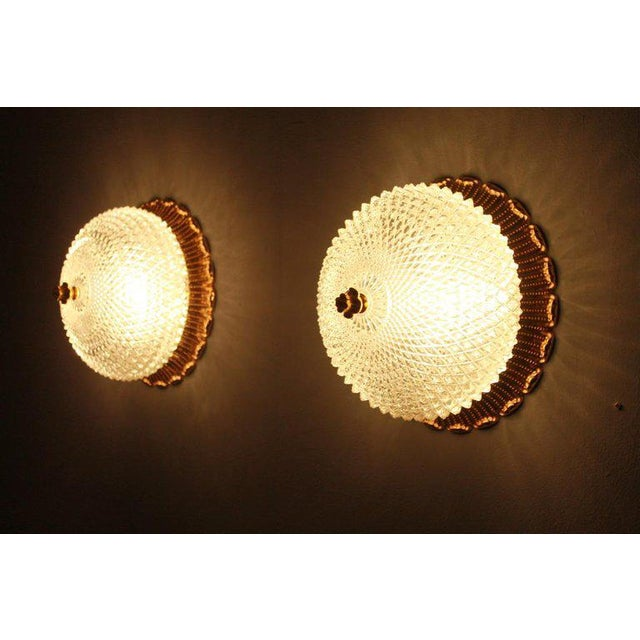 1970s One of Four Limburg Wall Sconces With Textured Glass and Gilded Brass, 1970s For Sale - Image 5 of 9