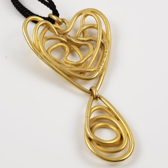 Metal Balenciaga Paris Pendant Necklace Gilt Metal Wired Dangling Spiral For Sale - Image 7 of 8