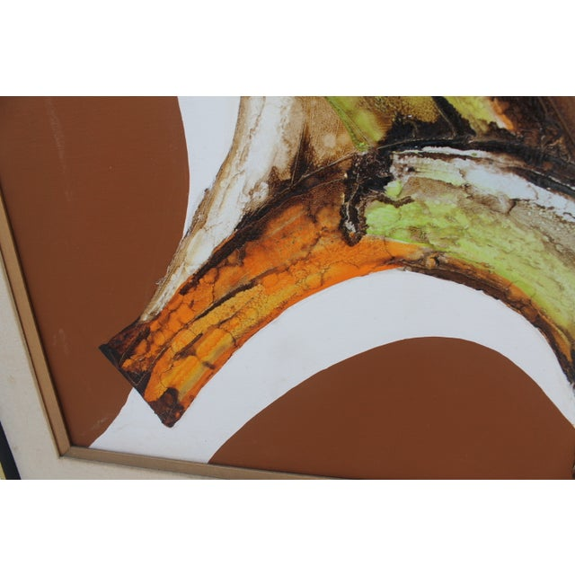 A- Large Vintage Expressionist Abstract Painting - Image 3 of 11