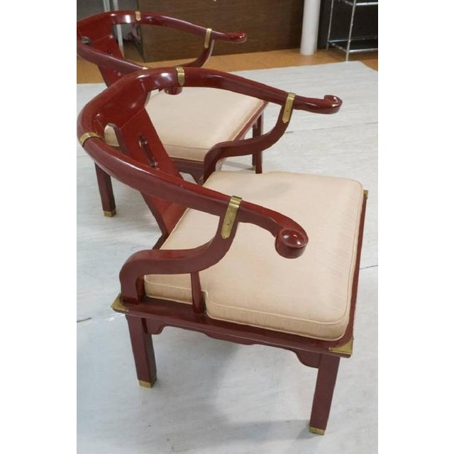 Asian James Mont Style Century Red Horseshoe Back Lounge Chairs - a Pair For Sale - Image 3 of 9
