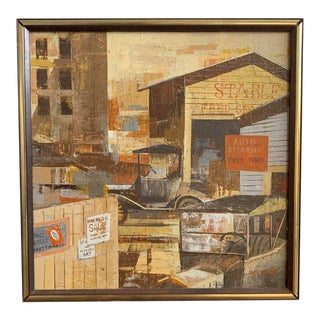 """1970s """"Changing Times"""" Abstract Architectural Oil Painting by Jack Wilson, Framed For Sale"""