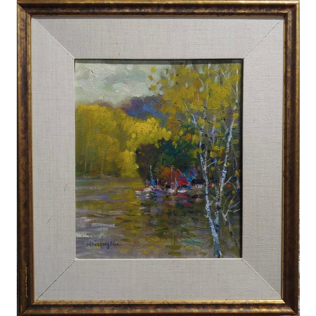 """Kairong Liu -Landscape w/ship on Lake - oil panting oil painting on board -signed frame size 16 x 18"""" board size 10 x 12""""..."""