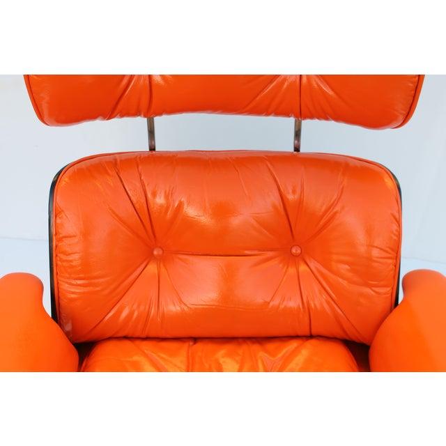 rare mid century modern eames style recliner hermes orange leather
