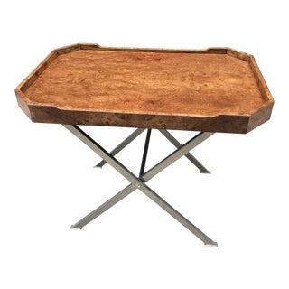 Milo Baughman Burl Tray Table For Sale