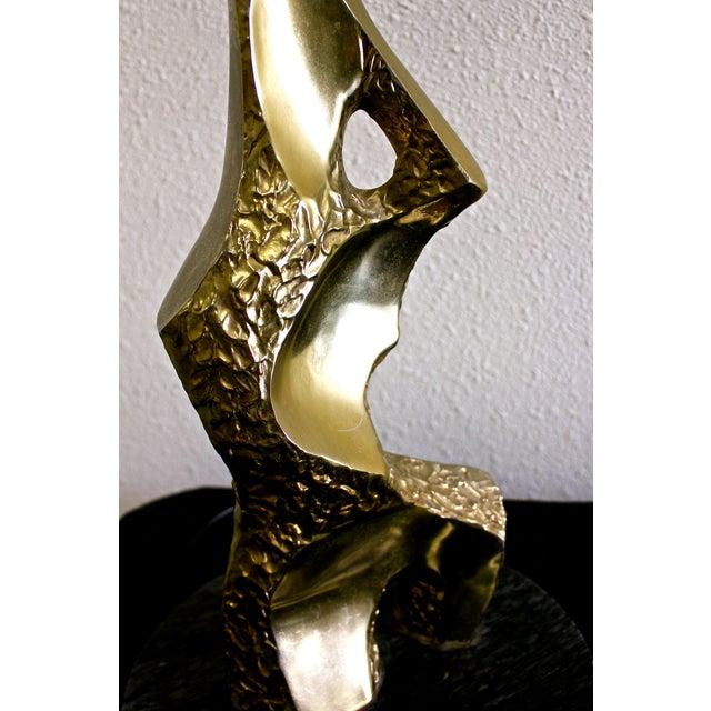 Laurel Brutalist Brass Sculptured Lamp - Image 5 of 5