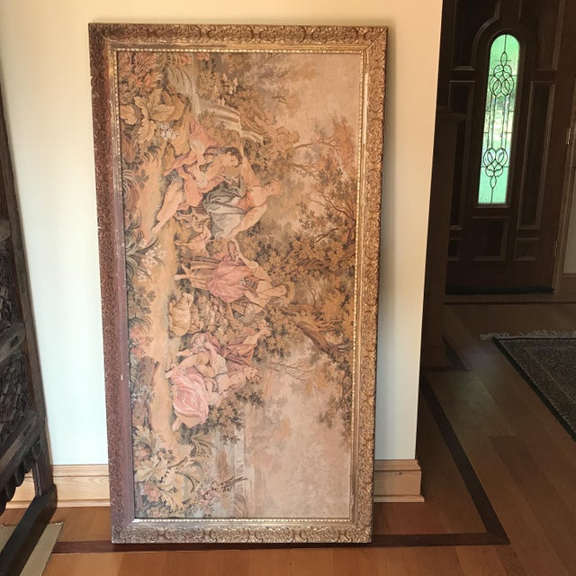 1920s Extra Large Framed Victorian Scene Tapestry For Sale - Image 5 of 5