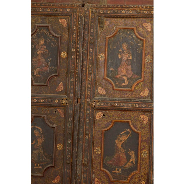 Asian Mid 19th Century Antique Painted Doors - a Pair For Sale - Image 3 of 7