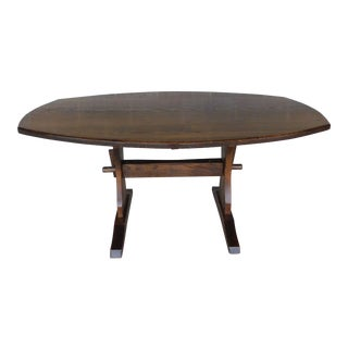Hunt Country Oak Country Style Trestle Base Dining Table