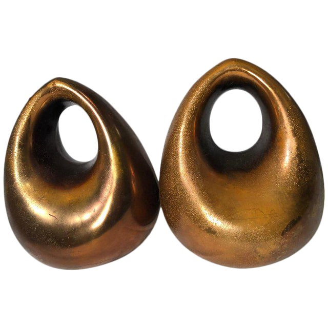 JenFred Ben Seibel Copper Finish Orb Bookends - a Pair For Sale
