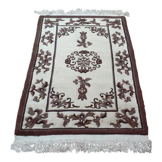 Chinese Traditional Brown and Cream Wool Area Rug For Sale