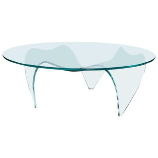 1970s Vintage Pace Round Glass Coffee Table For Sale