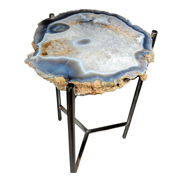 Organic Modern Natural Agate Slice Accent Table For Sale