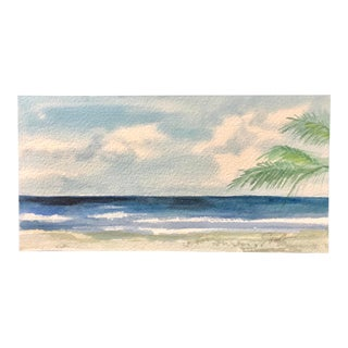 "Nancy Smith Original Watercolor Seascape, ""Beyond the Palms"" For Sale"