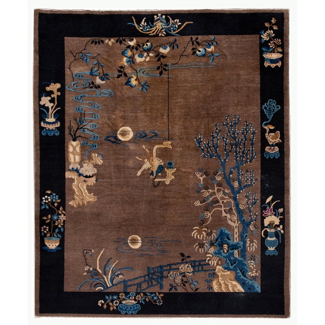 Early 20th Century Antique Art Deco Chinese Piking Wool Rug For Sale - Image 13 of 13