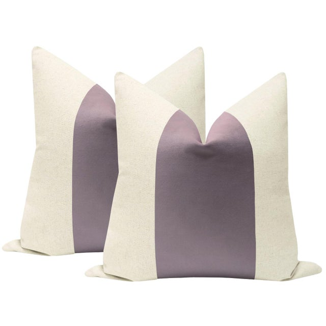 "22"" Smokey Lavender Velvet Panel & Linen Pillows - a Pair For Sale - Image 6 of 6"