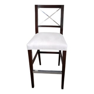 Bar Height Stool With Upholstered Seat For Sale