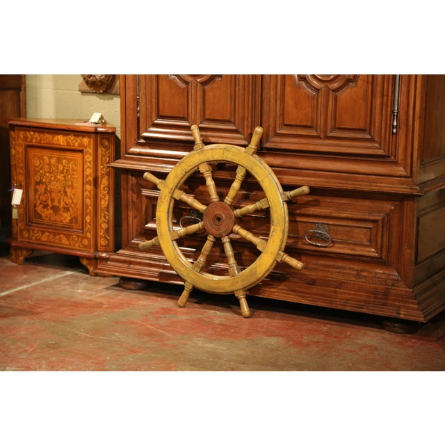 French 19th Century French Carved Walnut and Iron Sailboat Wheel With Old Yellow Paint For Sale - Image 3 of 7