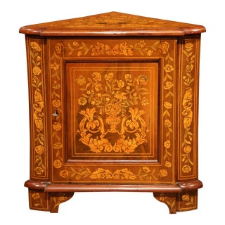 Early 19th Century Dutch Walnut Marquetry Corner Cabinet with Inlay Work For Sale