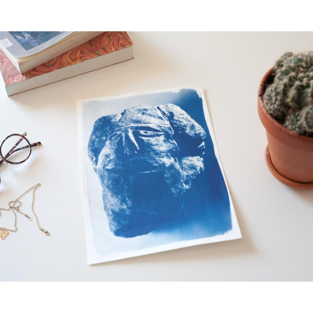 Cyanotype Print, Abstract Rock Face Sculpture on Watercolor Paper, A4 Size (Limited Edition) - Image 3 of 3