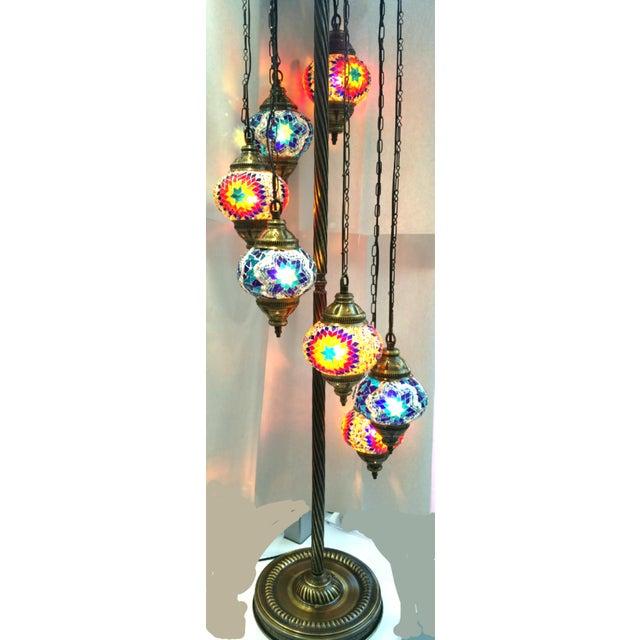 Brass Plated 7 Globe Tile Art Lamp - Image 3 of 6