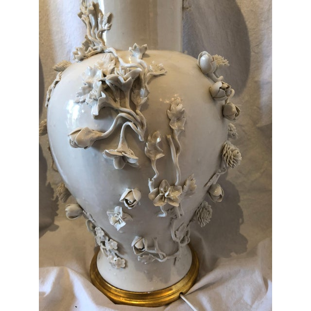 Pair of Large Chinese Blanc De Chine Porcelain Vase Lamps, Applied Flowers For Sale - Image 9 of 11