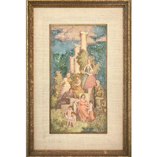 Vintage Impressionist Gouache Painting of Rococo Inspired Scene by Daniel MacMasters